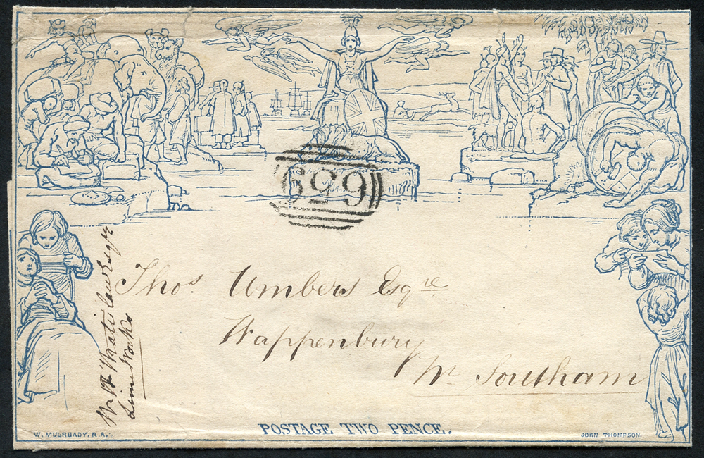 1840 twopenny letter, dated 10th Feb from Rugby to Leamington, SG.63, Cat. £2000