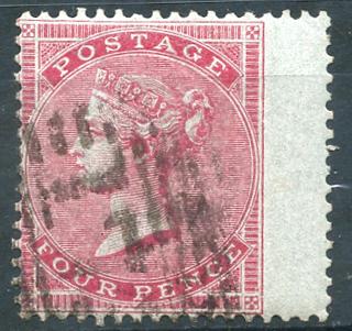 1855 wmk medium garter 4d carmine, SG.63, Cat. £575
