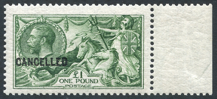 1913 £1 yellowish green on Joyson paper, fine & scarce. Spec Cat £3250