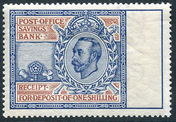 1911-20 Post Office Savings Bank 1s light blue & red (Downey Portrait) Cat. £300