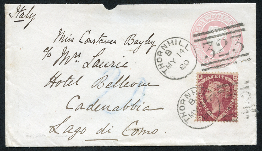 1880 1d pink with a 1½d rose red  Pl.3 (SG.51)