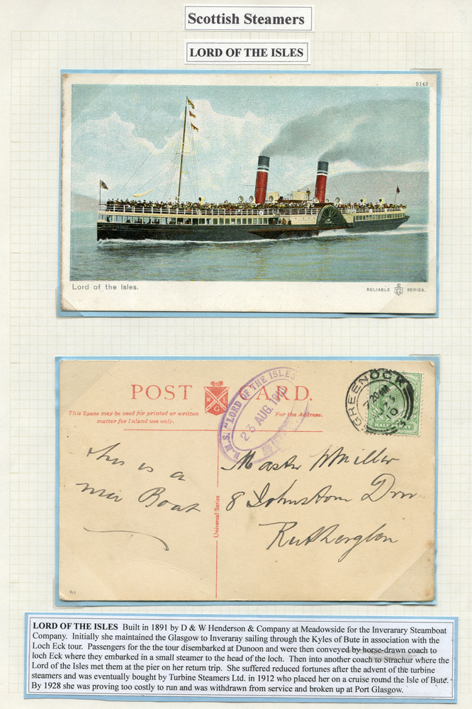 1910 picture postcard franked 1½d Edward tied Greenock double ring c.d.s