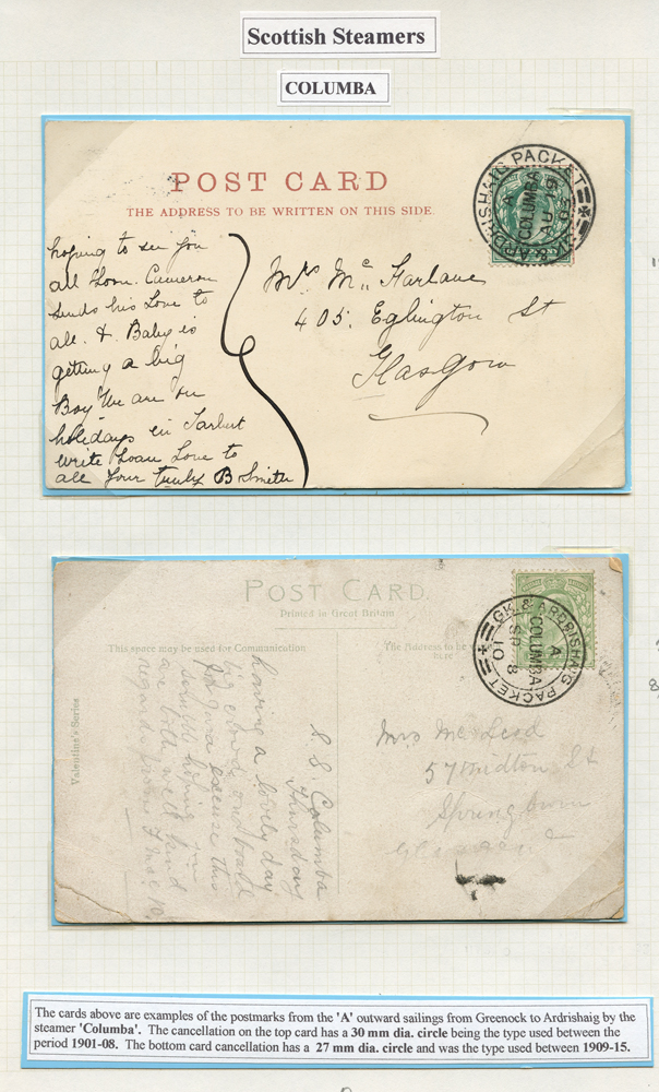 1903 '29mm' cachet on ½d KEVII picture postcard, 1910 '26.5mm' picture postcard