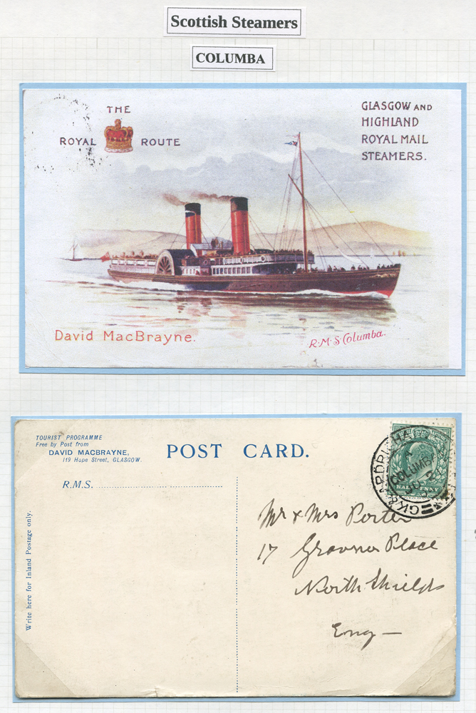 1904 picture postcards of R.M.S Columbia
