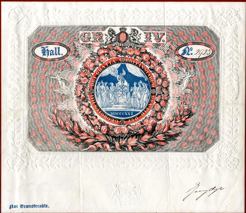 George IV Coronation - July 19th 1821 - ticket no. 2923