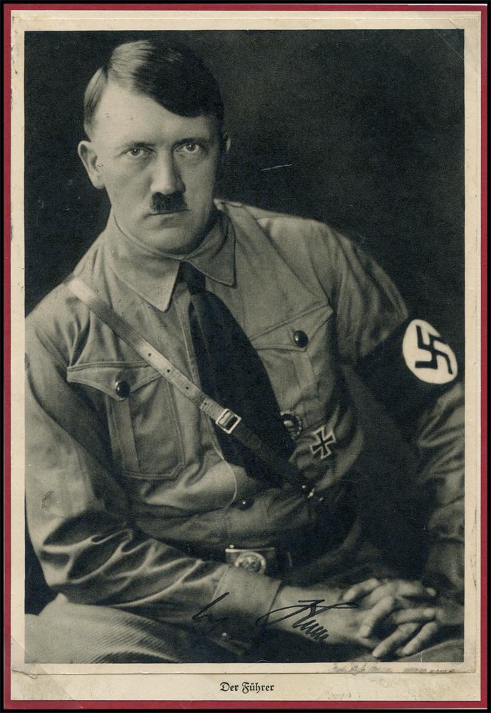 HITLER, ADOLF SIGNATURE photograph (5x7) of Hitler mouned on a lightly larger sheet