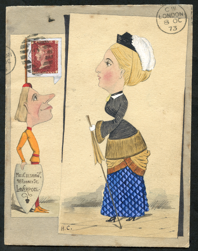 1873 (8th Oct) hand painted envelope 'Lady with a bustle and a knave with a flagpole on his head'