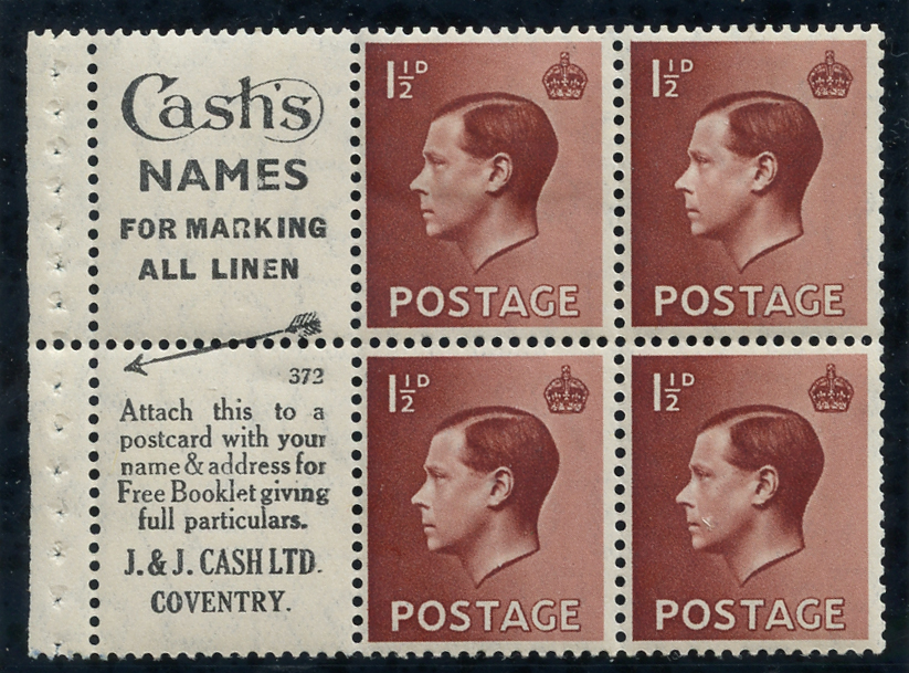 1936 1½d Advertisement booklet pane, Spec PB5 (2), SG.459a, Cat. £185