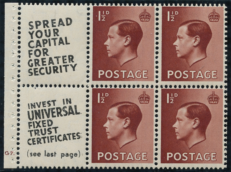 1936 1½d Advertisement booklet pane, Spec PB5 (12), SG.459a, Cat. £125