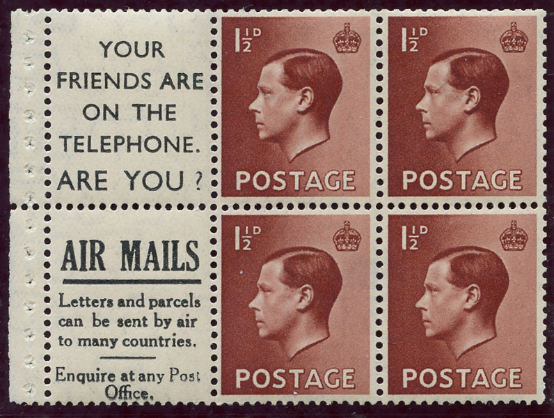 1936 1½d Advertisement booklet pane, Spec PB5 (16), SG.459awi, Cat. £125