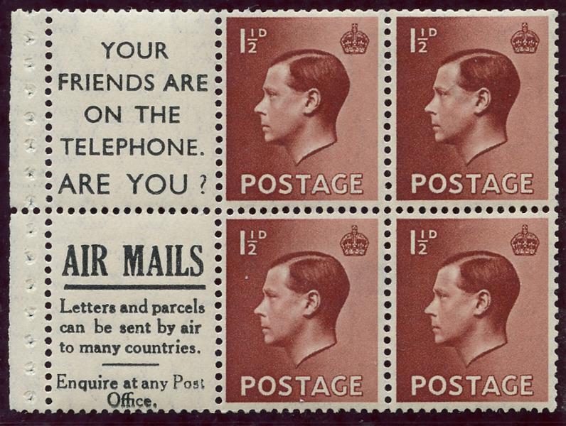 1936 1½d Advertisement booklet pane, Spec PB5 (16), SG.459awi, Cat. £125