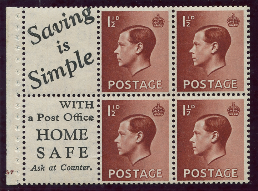 1936 1½d Advertisement booklet pane, Spec PB5 (14), SG.459a, Cat. £200