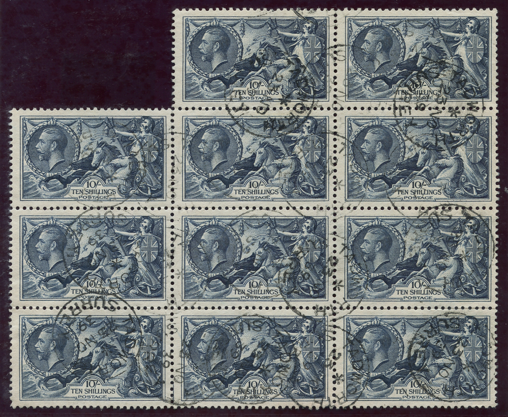 1934 Re-engraved 10s indigo, block of eleven, SG.452, Cat. £880++