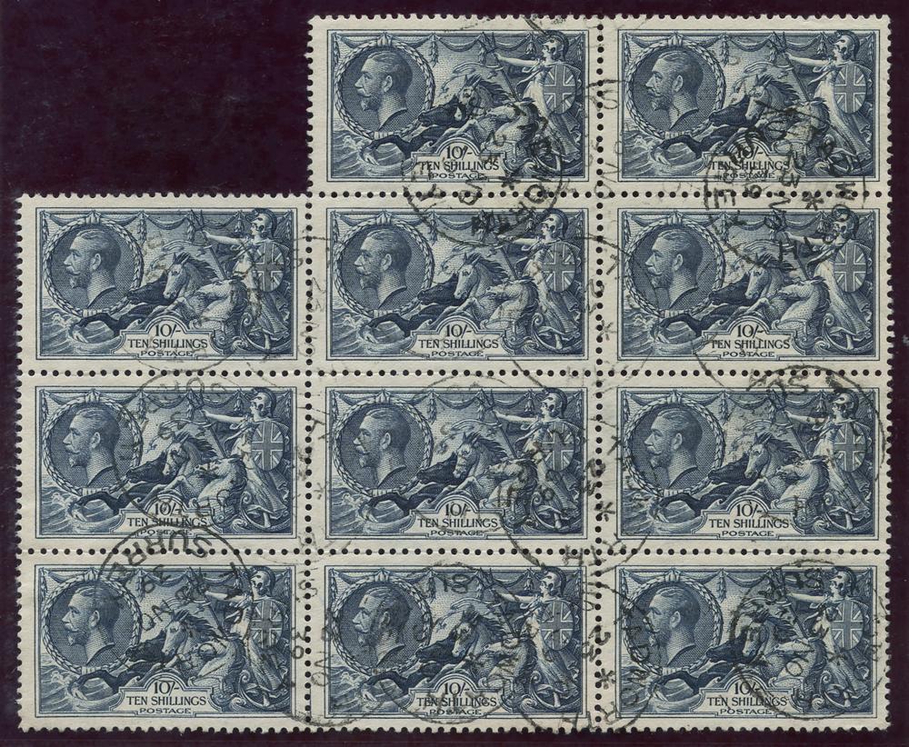 1934 Re-engraved 10s indigo, block of eleven, SG.452, Cat. £880++