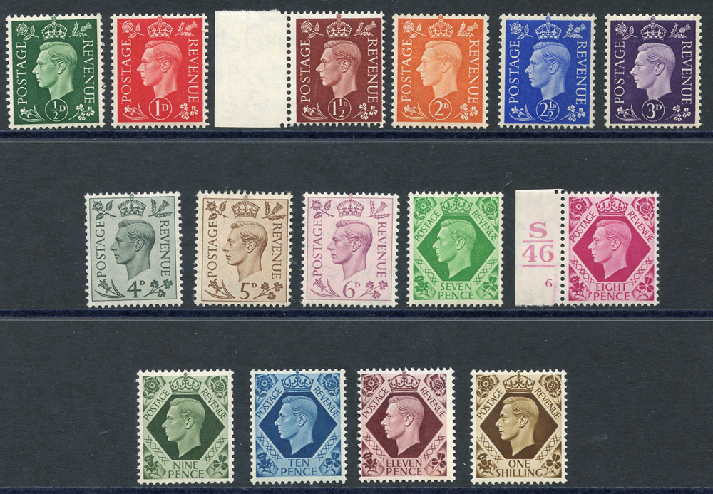 1937 dark colour definitve set, SG.462a/466a.