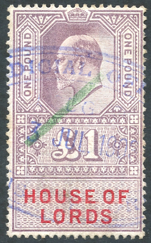 HOUSE OF LORDS 1902 KEVII £1 lilac & scarlet