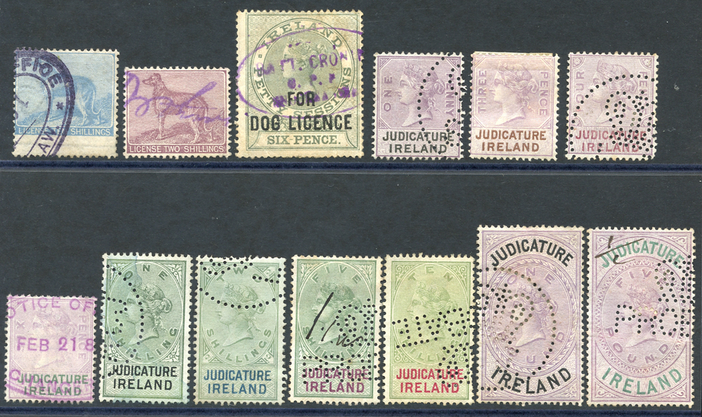IRELAND DOG LICENCE 1865 10s blue, 1882 2s lilac, 1893 6d green, JUDICATURE 1882 1d to £5, Cat. £45 (13)