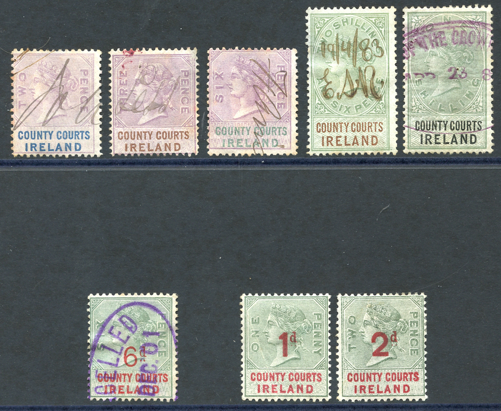 IRELAND COUNTY COURTS 1878 2d, 3d, 6d,1s & 2/6d, 1895 6d