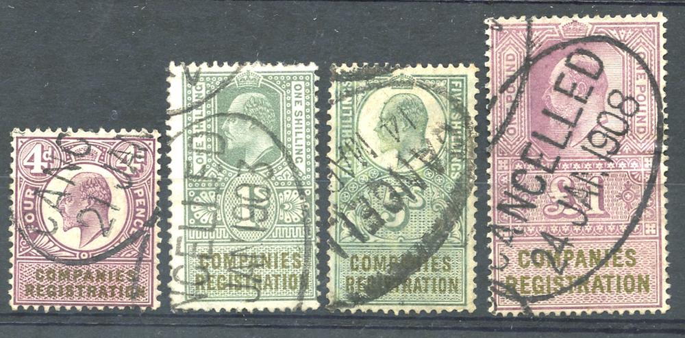 COMPANIES REGISTRATION 1902 4d, 1s, 5s & £1