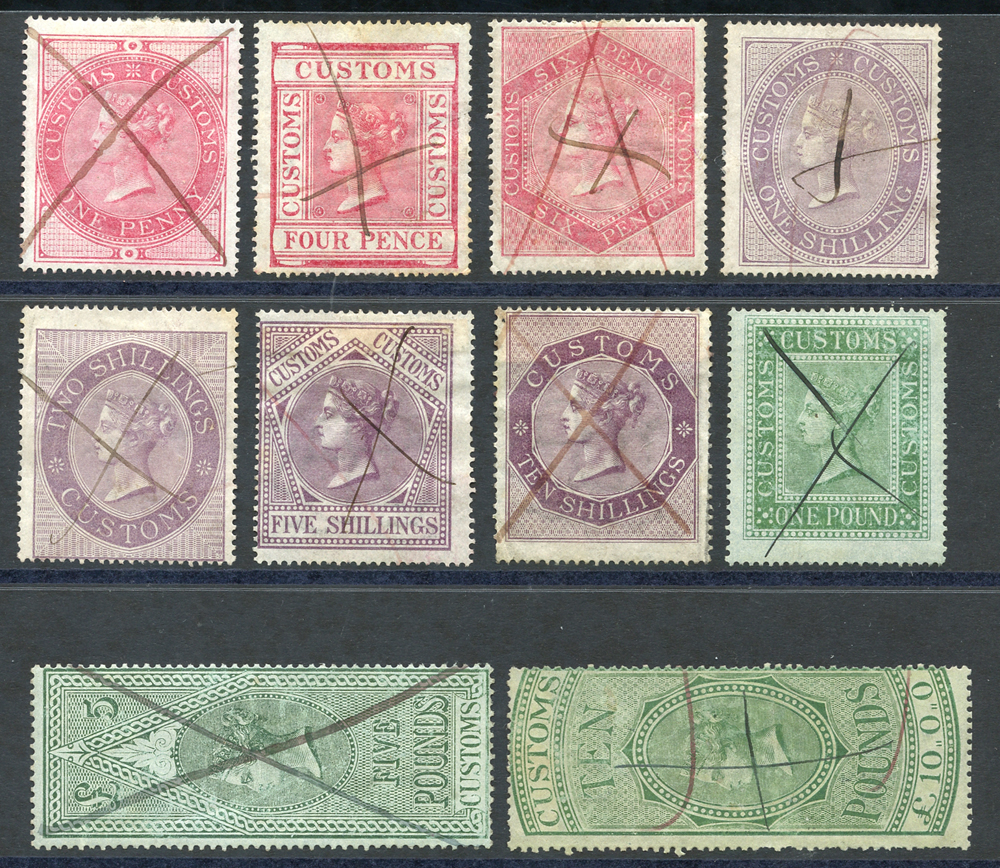 CUSTOMS 1860 wmk ship various designs 1d to £10, a complete set