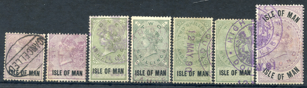 ISLE OF MAN 1889 2d, 6d, 1s, 2s, 2/6d, 10s & £1, Cat. £160