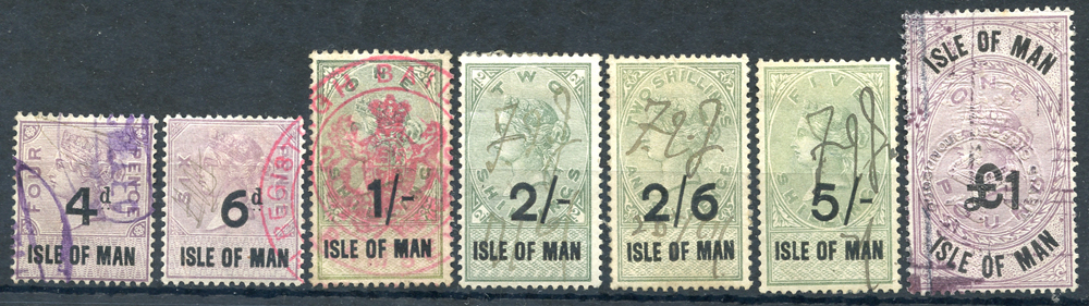 ISLE OF MAN 1895 4d, 6d, 1s, 2s, 2/6d, 5s & £1, Cat. £155