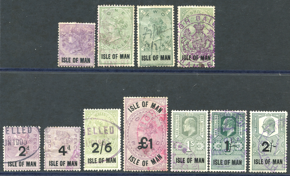 ISLE OF MAN 1889 6d, 1s, 2s & 2/6d, 1895, 2d, 4d, 2/6d & £1, 1903 1s, 1904 1s & 2s Cat. £250