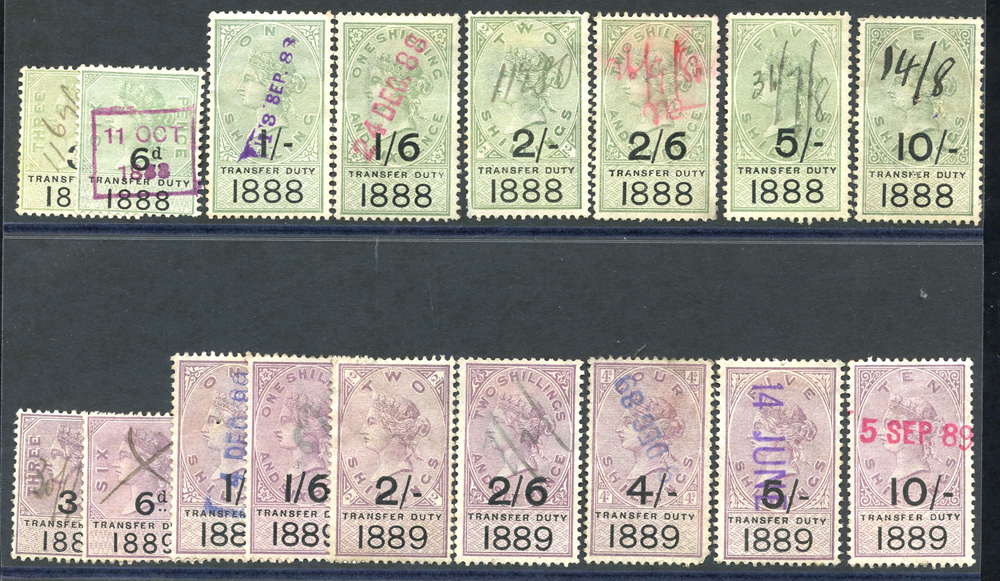 TRANSFER DUTY 1888 & 1889 sets