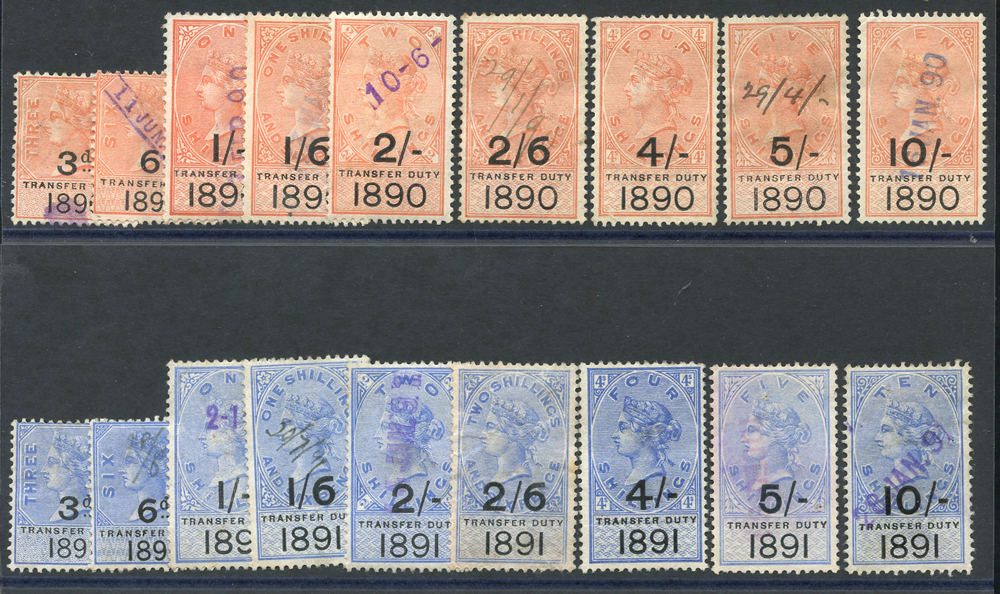 TRANSFER DUTY 1890 & 1891 sets