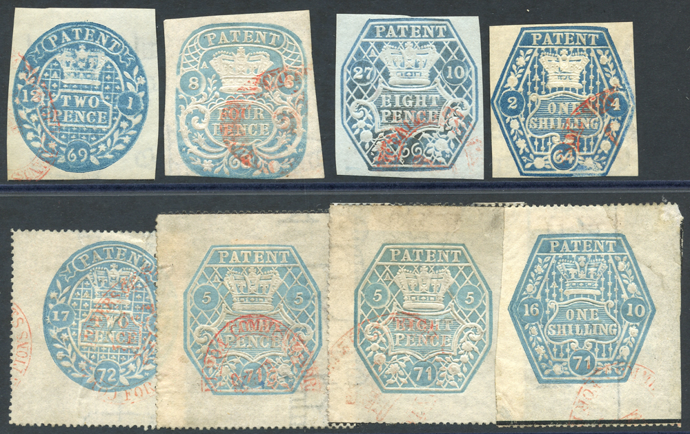 PATENT 1853 2d to 1s, 1870-72 perforated tyes