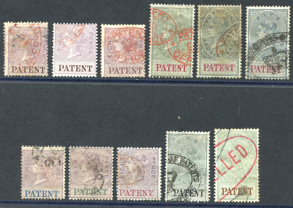 PATENT 1872 set, 1879 New colours 2d to 2/6d