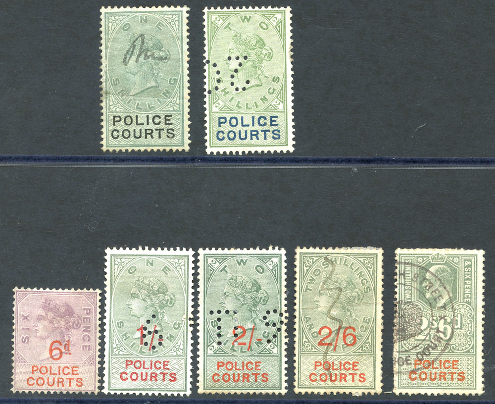 POLICE COURTS 1876 1s & 2s, 1895 6d, 1s, 2s, 2/6d, 1902 2/6d