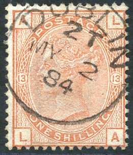 1881 wmk imperial crown 1s orange-brown