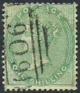 1856 wmk Emblems 1s green