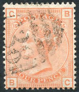 1876 Large Garter 4d vermilion, SG.152. Cat. £525