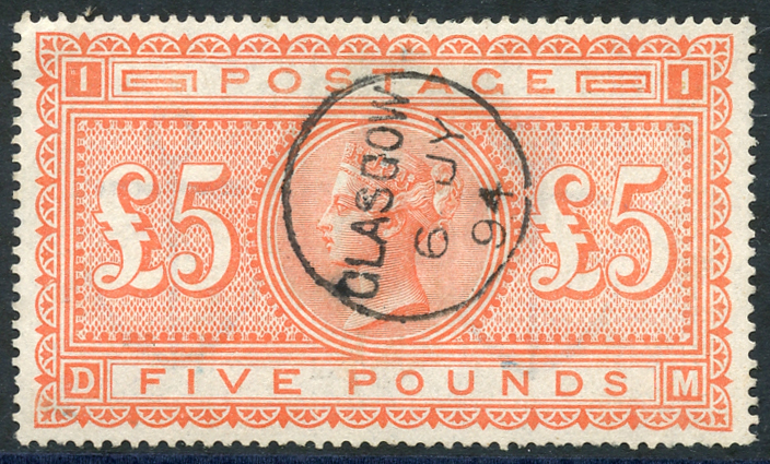 1867-83 £5 orange DM, SG.137