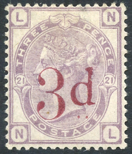 1883 3d on 3d lilac,SG.159. Cat. £650
