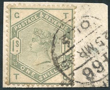 1883 1s dull green, SG.196. Cat. £325