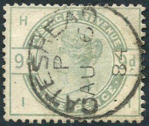 1883 9d dul green, SG.195, Cat. £480