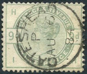 1883 9d dul green, SG.195, Cat. £480