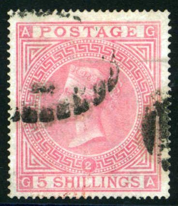 1867-83 wmk Maltese Cross 5s pale rose