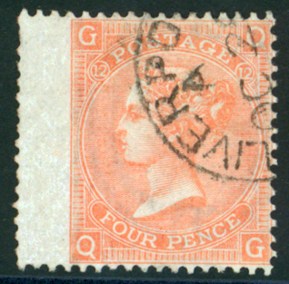 1865-67 4d vermilion Plate 12, very fine part Liverpool c.d.s