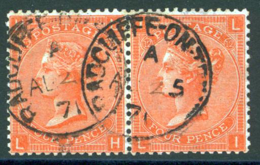 1865-67 wmk large garter 2d deep vermilion, horizontal pair