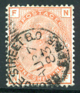 1880-83 wmk Imperial Crown 1s orange brown