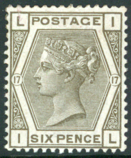 1880-83 wmk Imperial Crown 6d grey Plate 17 (IL)