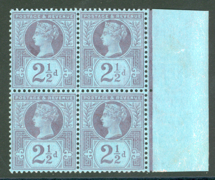 1887 Jubilee 2½d purple/blue block of four
