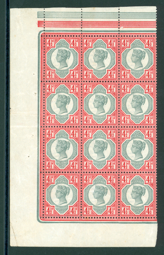 1887 Jubilee 4½d green & carmine block of 12.