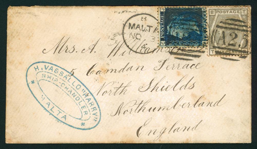 MALTA 1874 envelope from Malta to North Shields, Northumberland