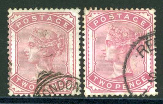 1880-81 2d pale rose SG.168 and 2d deep rose