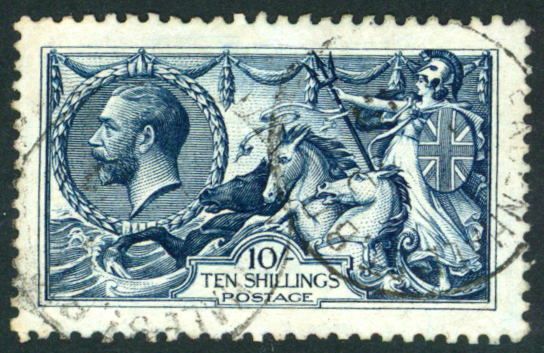 1913 Waterlow 10s indigo-blue VFU